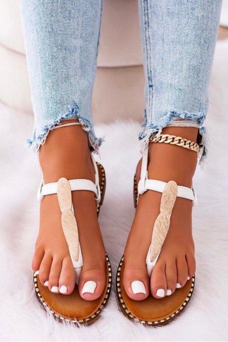 Sandales à brides feuilles dorées blanc