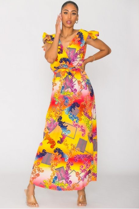 Robe à motif cachemire multicolore