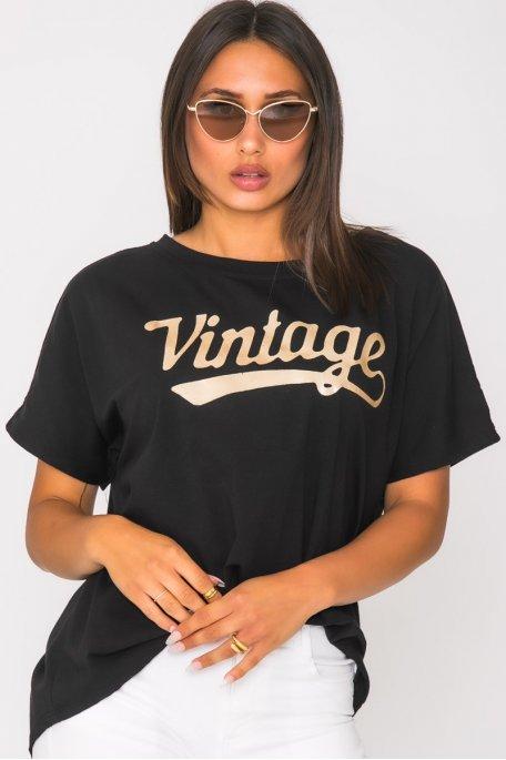 Tee shirt imprimé Vintage noir