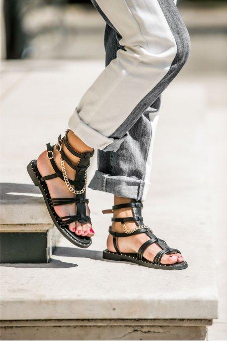 Sandales cloutées chaîne dorée noir