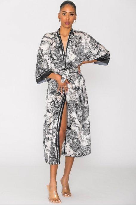Kimono à motif manches 3/4 noir