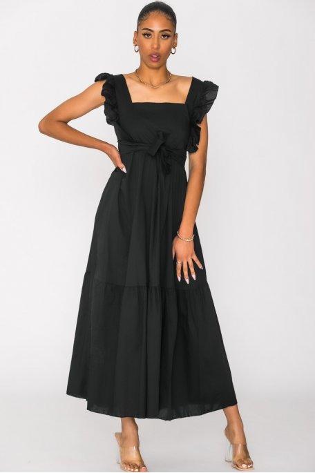 Robe longue encolure carré noir