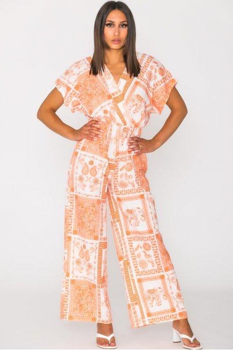 Combinaison imprimé ethnique orange