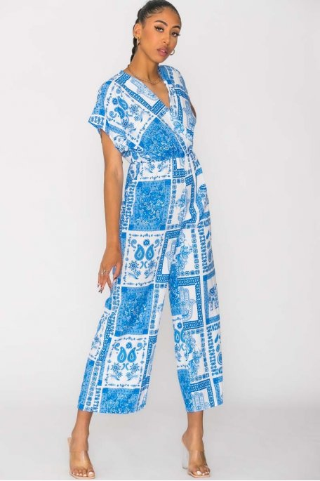 Combinaison imprimé ethnique bleu