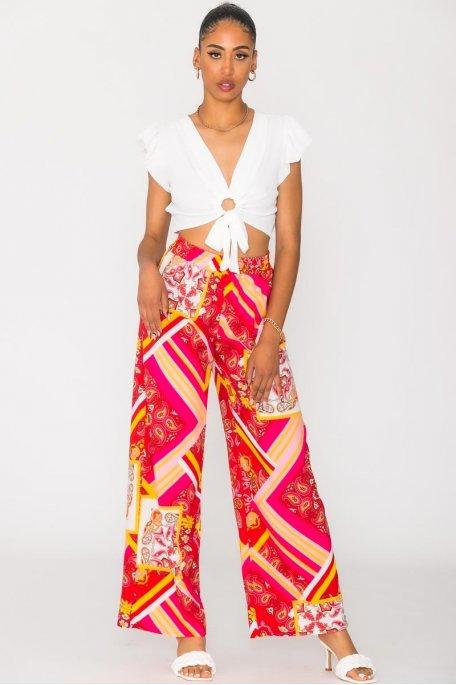 Pantalon fluide à motifs rouge
