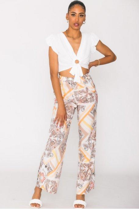 Pantalon fluide à motifs blanc