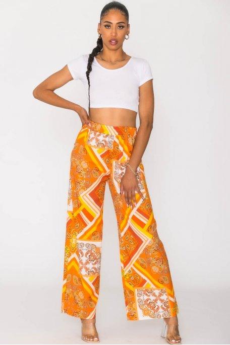 Pantalon fluide à motifs orange