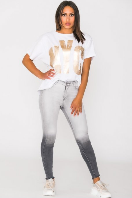 Jean taille haute tie and dye gris