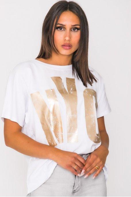 Tee shirt imprimé NYC blanc