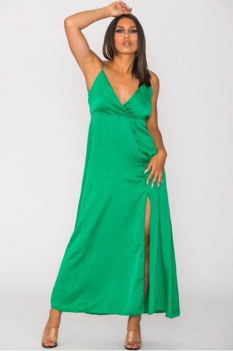 Robe satinée fendue côté boutonné vert