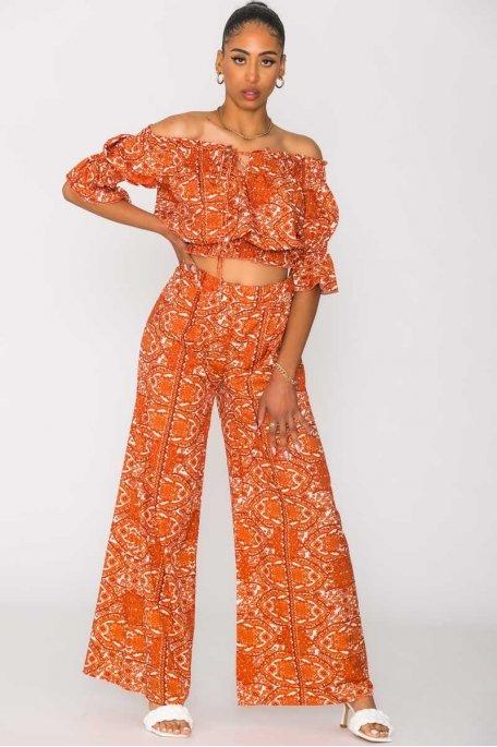 Ensemble imprimé col Bardot pantalon orange