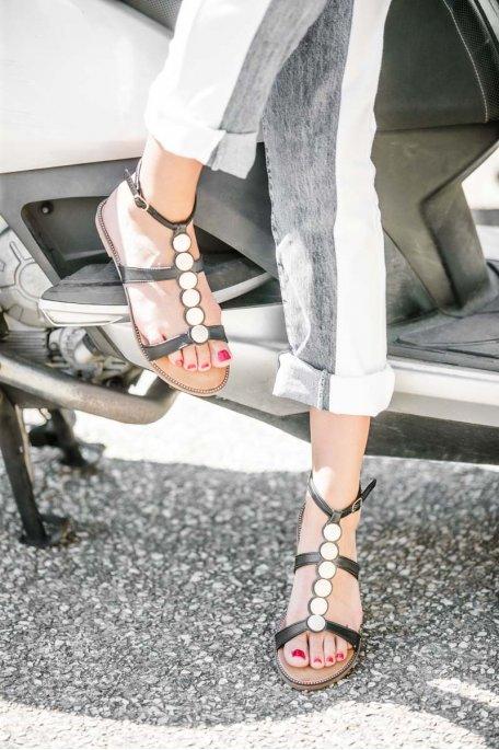 Sandales à boucle détails dorés noir