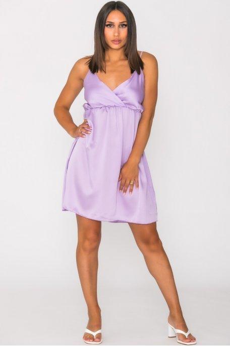 Robe satinée cache-coeur violet