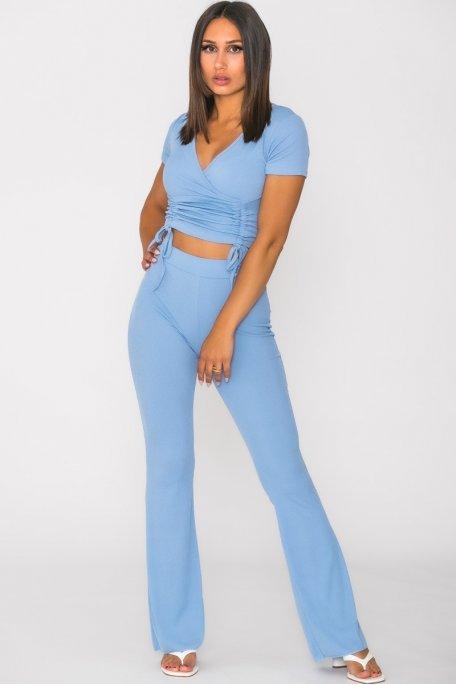 Ensemble côtelé pantalon top froncé bleu