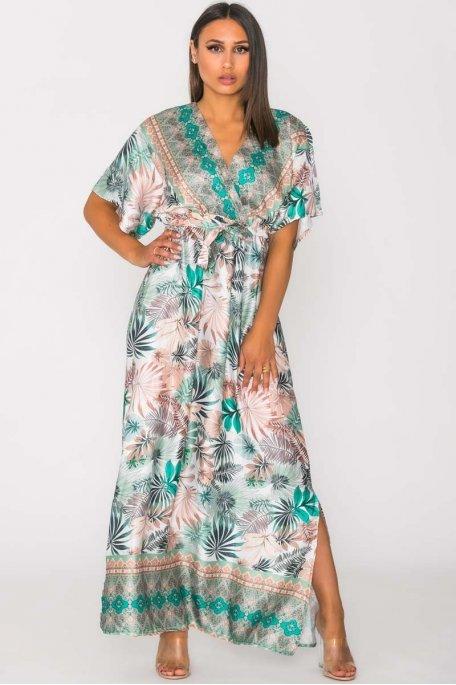 Robe longue satinée imprimé tropical vert