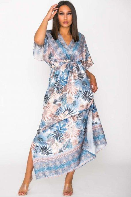 Robe longue satinée imprimé tropical bleu