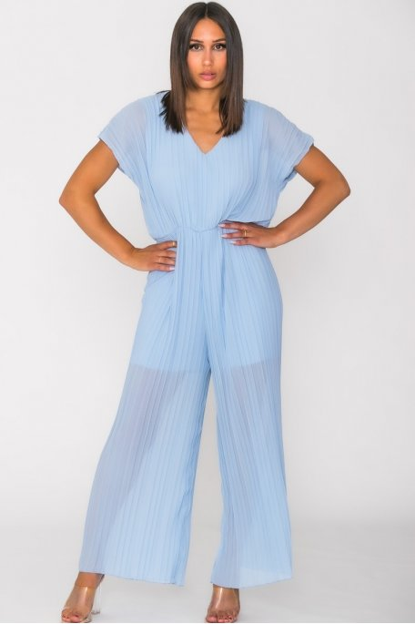 Combinaison pantalon plissée bleu