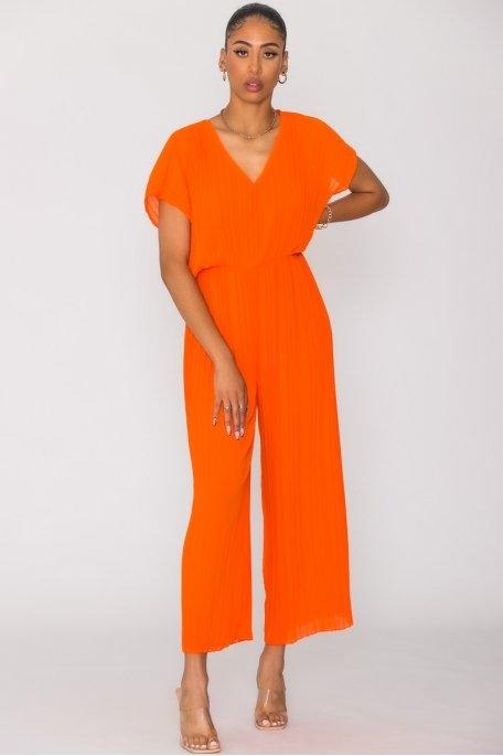 Combinaison pantalon plissée orange