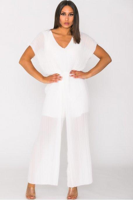 Combinaison pantalon plissée blanc