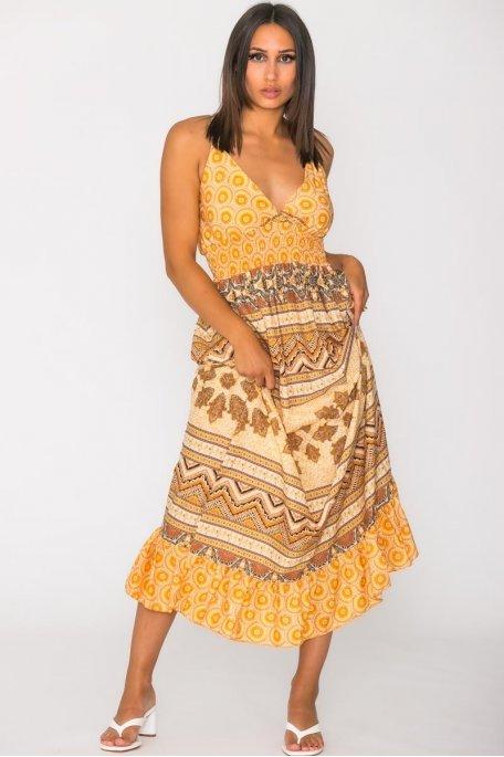Robe longue à motif fines bretelles jaune