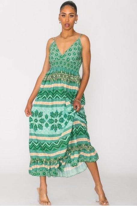 Robe longue à motif fines bretelles vert