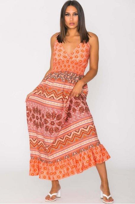Robe longue à motif fines bretelles orange