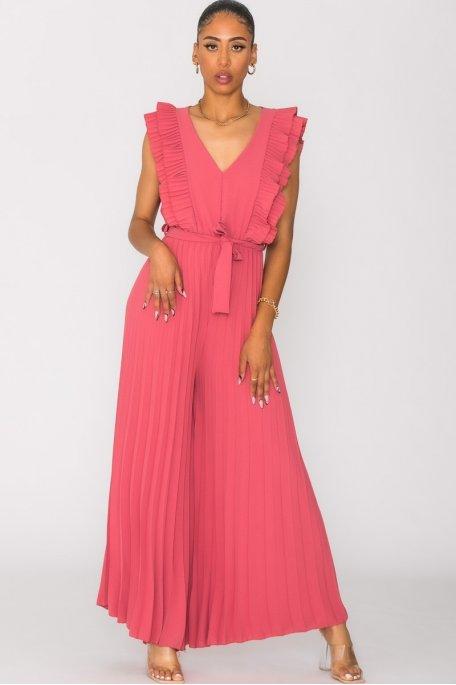 Combinaison pantalon plissée rose