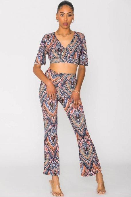 Ensemble crop top pantalon à motif bleu