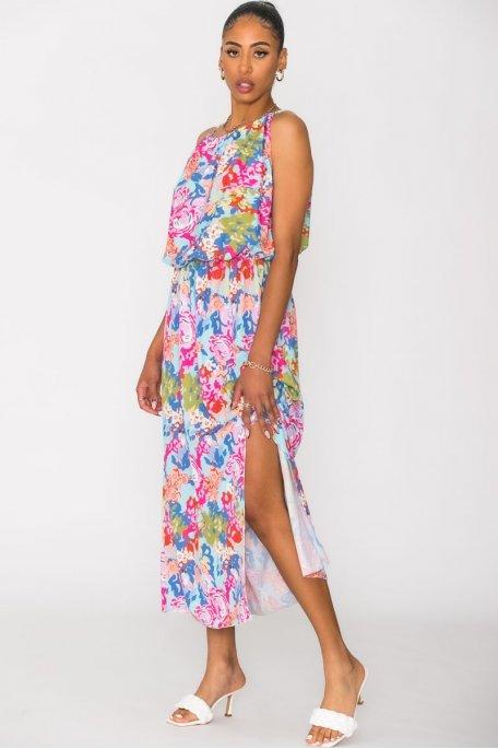 Robe longue imprimée cintrée multicolore