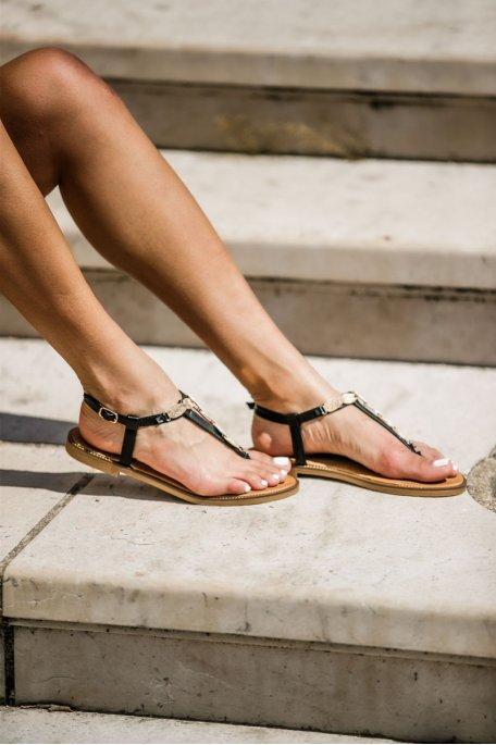 Sandales brides feuilles dorées noir