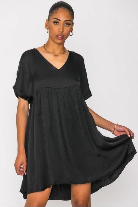 Robe ample col V satinée noir