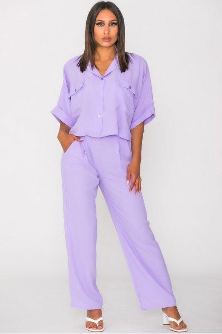 Ensemble fluide pantalon chemise courte violet