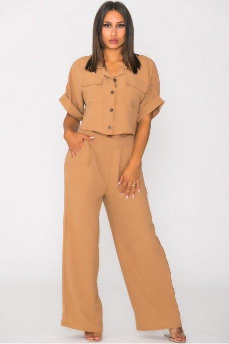 Ensemble fluide pantalon chemise courte camel