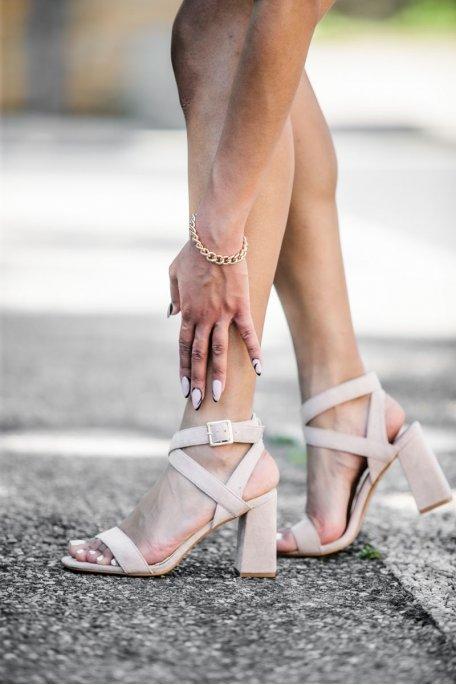 Sandales à talons effet daim beige