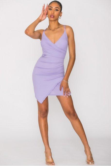 Robe côtelée dos croisé violet