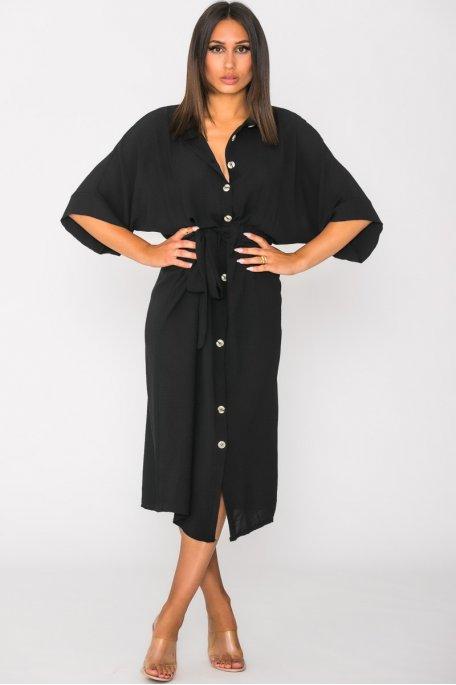 Robe chemise fluide boutonnée à nouer noir
