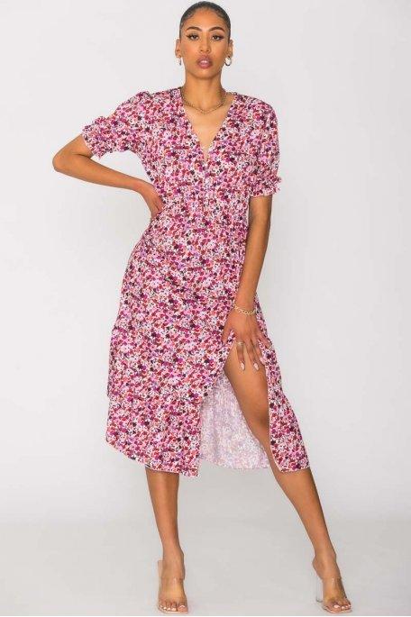 Robe longue fendue petites fleurs rose