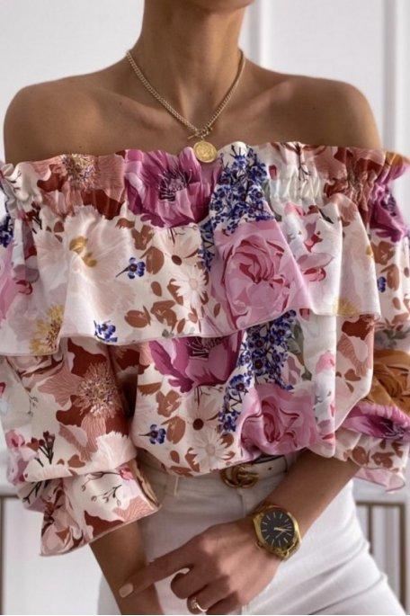 Top col bardot à fleurs volants rose