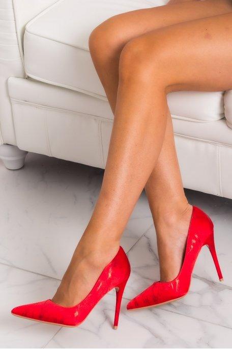 Escarpins effet marbre rouge