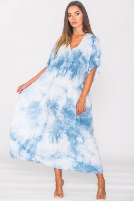 Robe longue ample tie & dye bleu