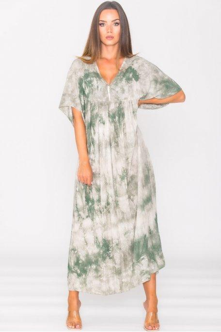 Robe longue ample tie & dye vert