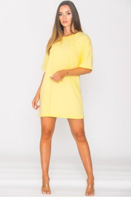 Robe tee-shirt oversize jaune