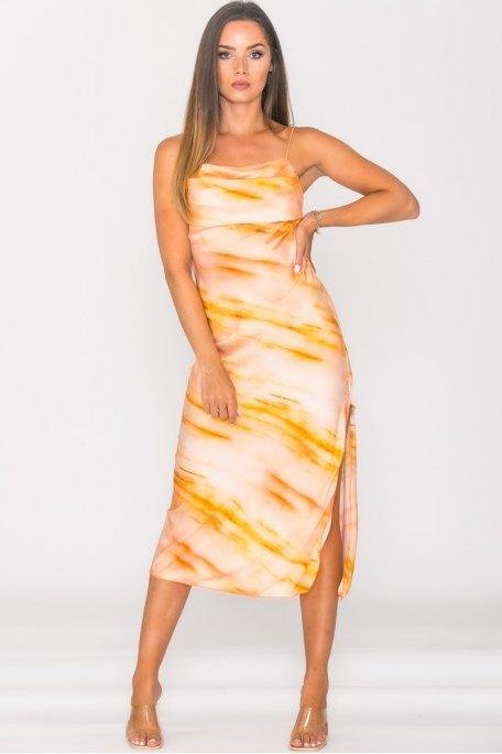 Slit midi dress with orange cowl neck