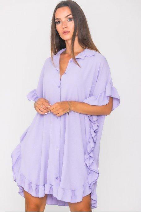 Robe chemise volants large violet