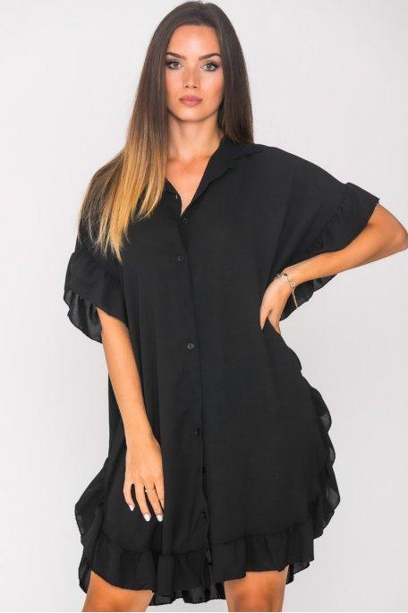 Robe chemise volants large noir
