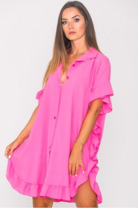 Robe chemise volants large rose