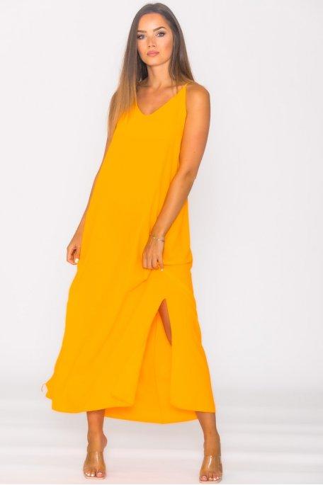 Robe longue fendue dos croisé orange
