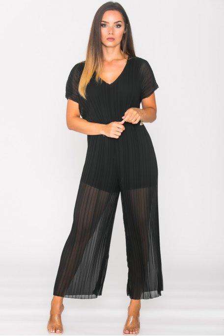 Combinaison pantalon plissée noir