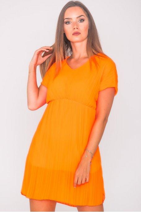 Robe courte plissée ample orange