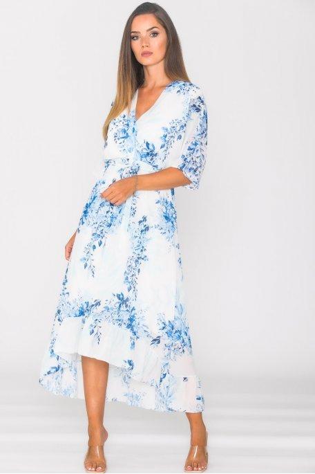 Robe longue en mousseline imprimé fleuri bleu